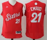 Wholesale Cheap Men's Philadelphia 76ers #21 Joel Embiid adidas Red 2016 Christmas Day Stitched NBA Swingman Jersey