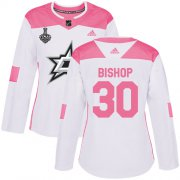 Cheap Adidas Stars #30 Ben Bishop White/Pink Authentic Fashion Women's 2020 Stanley Cup Final Stitched NHL Jersey