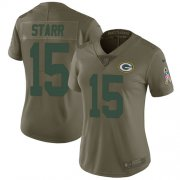 Wholesale Cheap Nike Packers #15 Bart Starr Olive Women's Stitched NFL Limited 2017 Salute to Service Jersey
