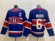Wholesale Cheap Men's Montreal Canadiens #6 Shea Weber Blue Adidas 2020-21 Alternate Authentic Player NHL Jersey