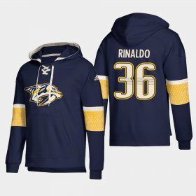 Wholesale Cheap Nashville Predators #36 Zac Rinaldo Navy adidas Lace-Up Pullover Hoodie