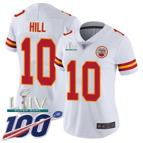 Wholesale Cheap Nike Chiefs #10 Tyreek Hill White Super Bowl LIV 2020 Women\'s Stitched NFL 100th Season Vapor Untouchable Limited Jersey