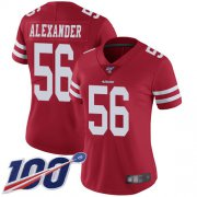 Wholesale Cheap Nike 49ers #56 Kwon Alexander Red Team Color Women's Stitched NFL 100th Season Vapor Limited Jersey