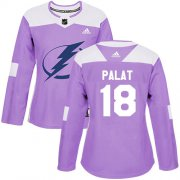 Cheap Adidas Lightning #18 Ondrej Palat Purple Authentic Fights Cancer Women's Stitched NHL Jersey