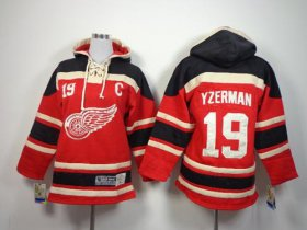 Wholesale Cheap Red Wings #19 Steve Yzerman Red Sawyer Hooded Sweatshirt Stitched Youth NHL Jersey