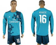 Wholesale Cheap Real Madrid #16 Kovacic Sec Away Long Sleeves Soccer Club Jersey