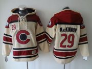 Wholesale Cheap Avalanche #29 Nathan MacKinnon Cream Sawyer Hooded Sweatshirt Stitched NHL Jersey