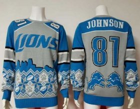 Wholesale Nike Lions #81 Calvin Johnson Blue/Grey Men\'s Ugly Sweater