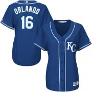Wholesale Cheap Royals #16 Paulo Orlando Royal Blue Alternate Women's Stitched MLB Jersey