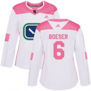 Wholesale Cheap Adidas Canucks #6 Brock Boeser White/Pink Authentic Fashion Women's Stitched NHL Jersey
