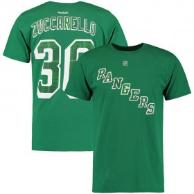 Wholesale Cheap New York Rangers #36 Mats Zuccarello Reebok St. Paddy\'s Name & Number T-Shirt Green