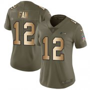 Wholesale Cheap Nike Seahawks #12 Fan Olive/Gold Women's Stitched NFL Limited 2017 Salute to Service Jersey