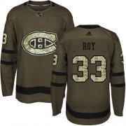 Wholesale Cheap Adidas Canadiens #33 Patrick Roy Green Salute to Service Stitched Youth NHL Jersey