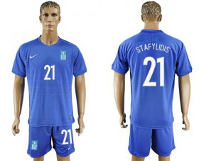 Wholesale Cheap Greece #21 Stafylidis Away Soccer Country Jersey