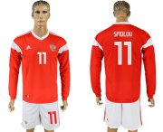 Wholesale Cheap Russia #11 Smolov Red Home Long Sleeves Soccer Country Jersey