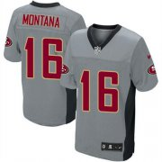 Wholesale Cheap Nike 49ers #16 Joe Montana Grey Shadow Youth Stitched NFL Elite Jersey