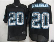 Wholesale Cheap Sideline Black United Lions #20 Barry Sanders Black Stitched NFL Jersey