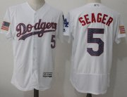 Wholesale Cheap Dodgers #5 Corey Seager White Fashion Stars & Stripes Flexbase Authentic Stitched MLB Jersey