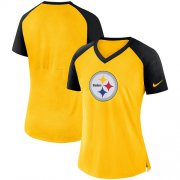 Wholesale Cheap Women's Pittsburgh Steelers Nike Gold-Black Top V-Neck T-Shirt