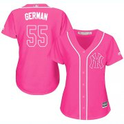 Wholesale Cheap Yankees #55 Domingo German Pink Fashion Women's Stitched MLB Jersey