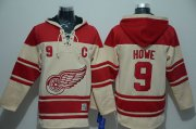 Wholesale Cheap Red Wings #9 Gordie Howe Cream Sawyer Hooded Sweatshirt Stitched NHL Jersey