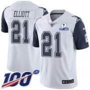 Wholesale Cheap Nike Cowboys #21 Ezekiel Elliott White Men's Stitched With Established In 1960 Patch NFL Limited Rush 100th Season Jersey