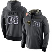 Wholesale Cheap NFL Men's Nike Los Angeles Rams #30 Todd Gurley II Stitched Black Anthracite Salute to Service Player Performance Hoodie