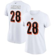 Wholesale Cheap Cincinnati Bengals #28 Joe Mixon Nike Women's Team Player Name & Number T-Shirt White