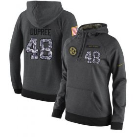 Wholesale Cheap NFL Women\'s Nike Pittsburgh Steelers #48 Bud Dupree Stitched Black Anthracite Salute to Service Player Performance Hoodie