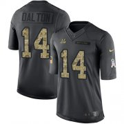 Wholesale Cheap Nike Bengals #14 Andy Dalton Black Youth Stitched NFL Limited 2016 Salute to Service Jersey