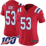 Wholesale Cheap Nike Patriots #53 Josh Uche Red Alternate Women's Stitched NFL 100th Season Vapor Untouchable Limited Jersey