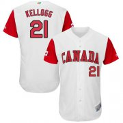 Wholesale Cheap Team Canada #21 Ryan Kellogg White 2017 World MLB Classic Authentic Stitched MLB Jersey