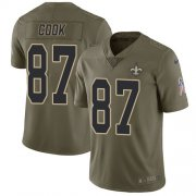 Wholesale Cheap Nike Saints #87 Jared Cook Olive Men's Stitched NFL Limited 2017 Salute To Service Jersey