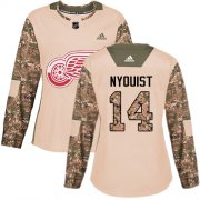 Wholesale Cheap Adidas Red Wings #14 Gustav Nyquist Camo Authentic 2017 Veterans Day Women's Stitched NHL Jersey