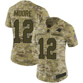Wholesale Cheap Nike Panthers #12 DJ Moore Camo Women\'s Stitched NFL Limited 2018 Salute to Service Jersey