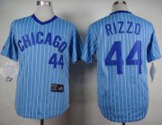 Wholesale Cheap Cubs #44 Anthony Rizzo Blue(White Strip) Cooperstown Throwback Stitched MLB Jersey