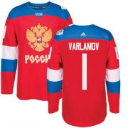 Wholesale Cheap Team Russia #1 Semyon Varlamov Red 2016 World Cup Stitched NHL Jersey