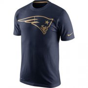 Wholesale Cheap Men's New England Patriots Nike Navy Championship Drive Gold Collection Performance T-Shirt