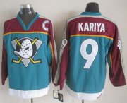 Wholesale Cheap Ducks #9 Paul Kariya Red/Turquoise CCM Throwback Stitched NHL Jersey