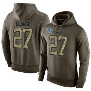 Wholesale Cheap NFL Men's Nike Tennessee Titans #27 Eddie George Stitched Green Olive Salute To Service KO Performance Hoodie