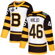 Wholesale Cheap Adidas Bruins #46 David Krejci White Authentic 2019 Winter Classic Stanley Cup Final Bound Stitched NHL Jersey