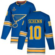 Wholesale Cheap Adidas Blues #10 Brayden Schenn Blue Alternate Authentic Stanley Cup Champions Stitched NHL Jersey