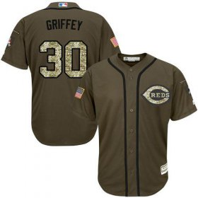 Wholesale Cheap Reds #30 Ken Griffey Green Salute to Service Stitched Youth MLB Jersey