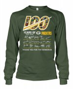 Wholesale Cheap Green Bay Packers 100 Seasons Memories Long Sleeve T-Shirt Olive