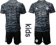 Wholesale Cheap Leicester City Blank Black Goalkeeper Kid Soccer Club Jersey