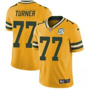 Wholesale Cheap Nike Packers #77 Billy Turner Yellow Men's 100th Season Stitched NFL Limited Rush Jersey