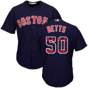 Wholesale Cheap Red Sox #50 Mookie Betts Navy Blue Team Logo Fashion Stitched MLB Jersey