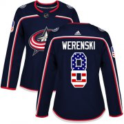 Wholesale Cheap Adidas Blue Jackets #8 Zach Werenski Navy Blue Home Authentic USA Flag Women's Stitched NHL Jersey
