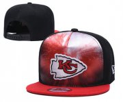 Wholesale Cheap Chiefs Team Logo Red Black Adjustable Leather Hat TX1
