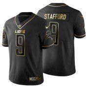 Wholesale Cheap Detroit Lions #9 Matthew Stafford Men's Nike Black Golden Limited NFL 100 Jersey